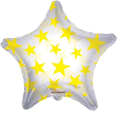 Yellow Pattern Star Balloon [22 Inches]