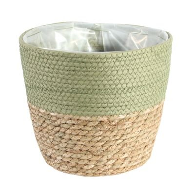 Round Two Tone Seagrass and Green Paper Basket [23 cm]