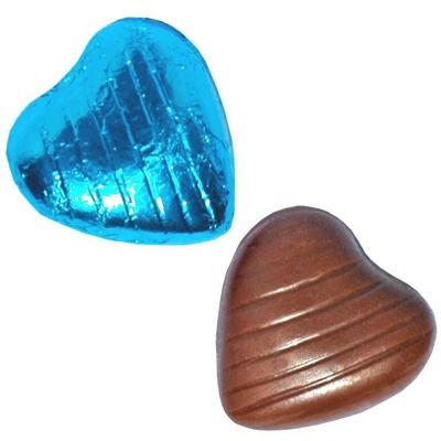 Turquoise Foil Chocolate Hearts 500g