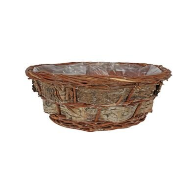 Round Willow and Bark Basket [35 cm]