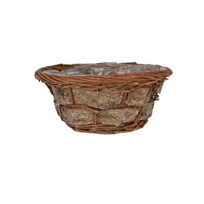 Round Willow and Bark Basket [25 cm]
