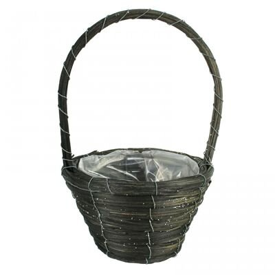 Round Silver Glitter Basket with Handle [20 cm]