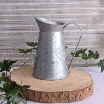 Washed Zinc Jug with Embossed Heart (12×21.8cm)