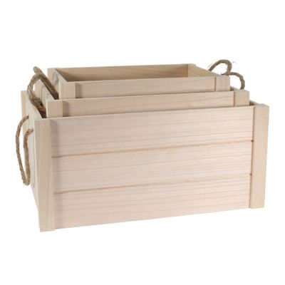 Natural Wood Crates with rope handles