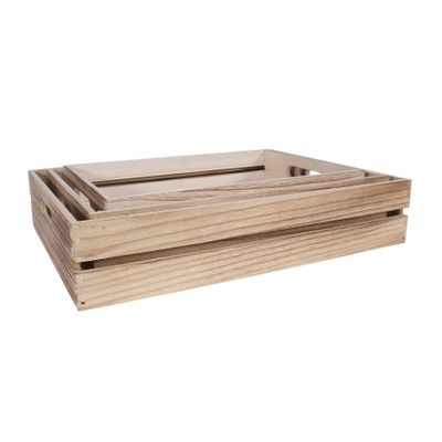 3 Natural Wood Trays with handle