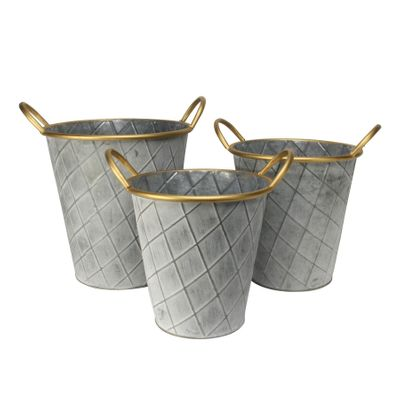 Antique Grey Nassau planters (Set of 3)