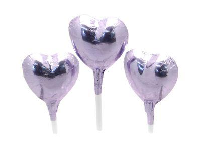 Lilac Foil Chocolate Heart Lollipop