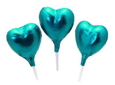 Turquoise Foil Chocolate Heart Lollipop
