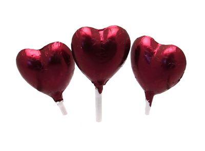 Burgundy Foil Chocolate Heart Lollipop