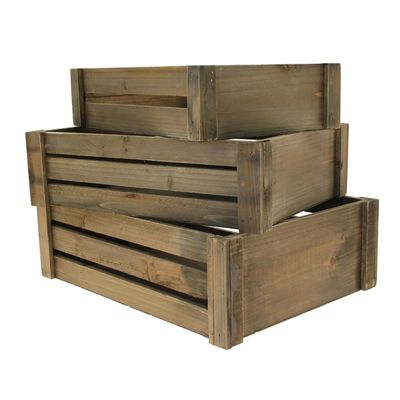 Set of 3 Brown Stain Wooden Crates
