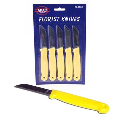 Yellow Handled Knives x 5