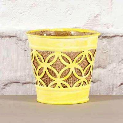 Yellow Metal Pot with Hessian 11.5cm