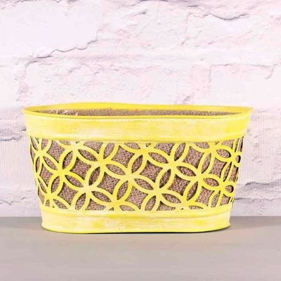 Yellow Oval Metal Planter with Hessian 24cm