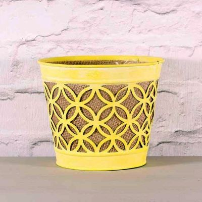 Yellow Metal Planter with Hessian 16.5cm