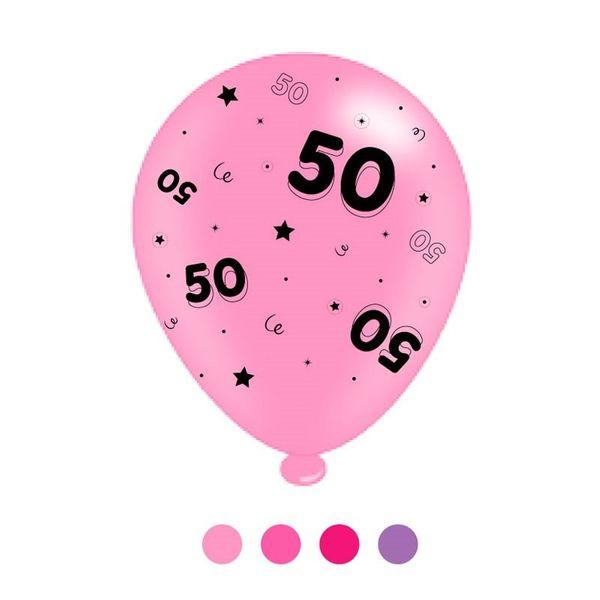 Age 50 Pink Mix Latex Balloons (6 Packs)