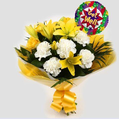 Get Well Balloon & Golden Sunshine Bouquet