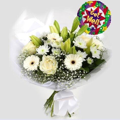 Get Well Balloon & White Petite Bouquet