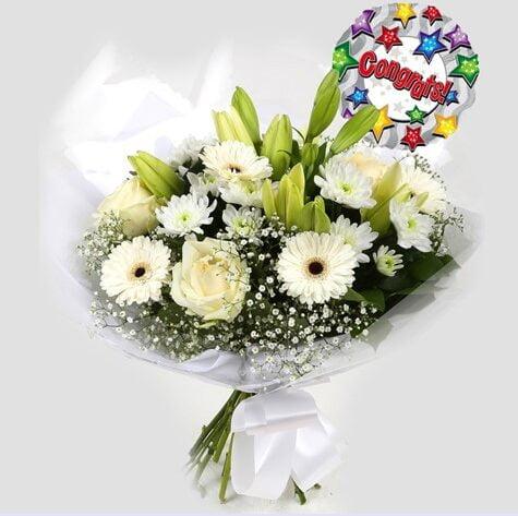Congrats Balloon & White Petite Bouquet
