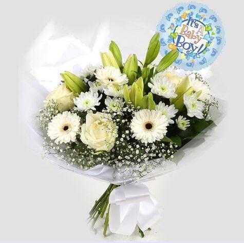 Its a Boy Balloon & White Petite Bouquet