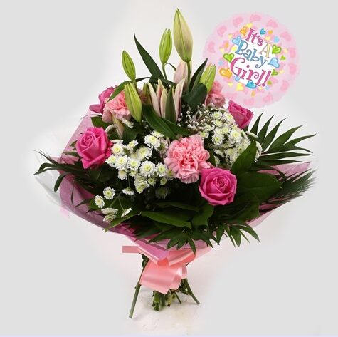 Its a Girl Balloon & Strawberry Sundae Bouquet