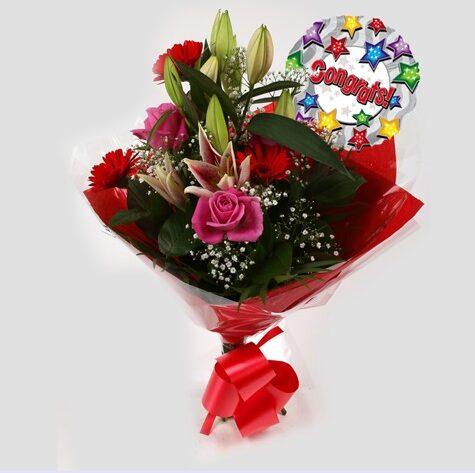Congrats Balloon & Pink Oriental Bouquet