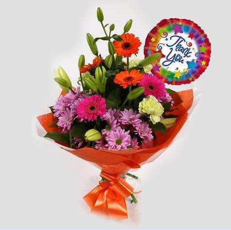 Thank You Balloon & Color Burst Bouquet
