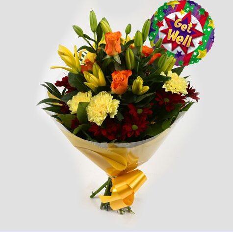 Get Well Balloon & Red Sunshine Bouquet