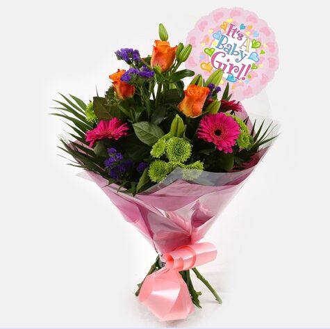 Its a Girl Balloon & Melody Bright Bouquet
