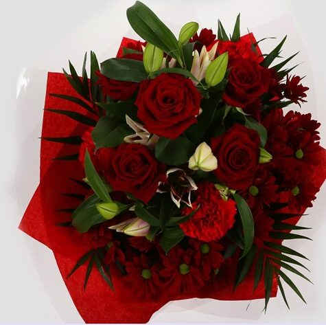 Red Roses & Lilly Bouquet