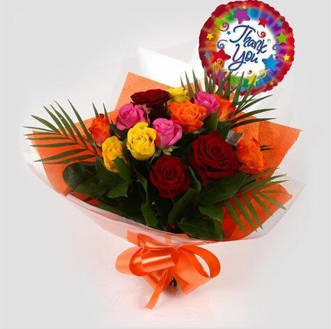 Thank You Balloon & Roses Galore Bouquet