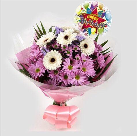 Birthday Balloon & Pink Santini Bouquet