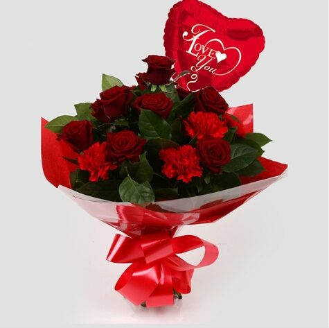 Love You Balloon & Heart Special bouquet