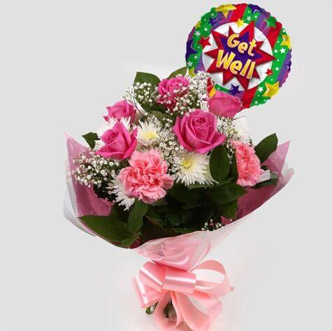 Get Well Balloon & Strawberry Pink Blush Bouquet