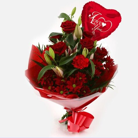 Love You Balloon & Red Roses Lilly Bouquet