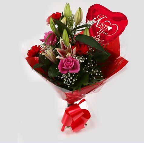 Love You Balloon & Pink Oriental Bouquet