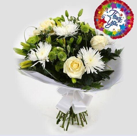Thank You Balloon & Golden Cream Bouquet