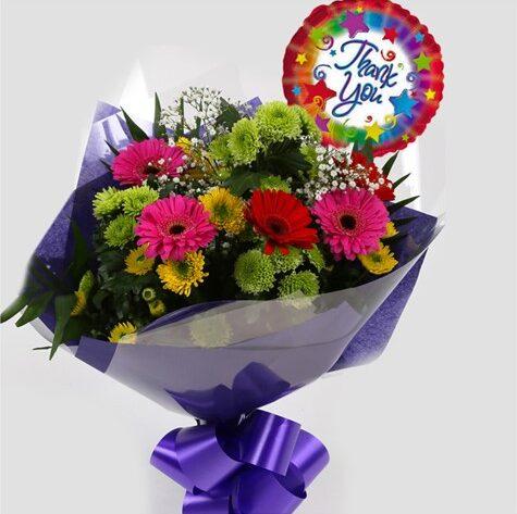 Thank You Balloon & Elegance Bouquet