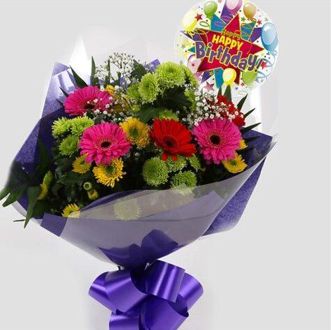 Birthday Balloon & Elegance Bouquet