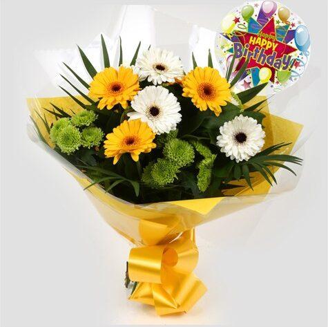 Birthday Balloon & Yellow Cream Bouquet
